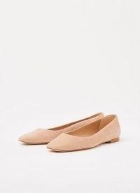 L.K. BENNETT PHYLLIS NUDE ROSE SUEDE FLATS / light pink ballerina flat shoes