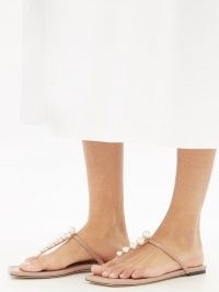 JIMMY CHOO Alaina crystal-embellished leather sandals | pink faux pearl thonged flats