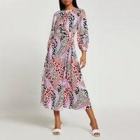 RIVER ISLAND Pink animal print ruched side midi dress / mixed print dresses