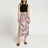 RIVER ISLAND Pink animal print side split maxi skirt ~ womens mixed print skirts