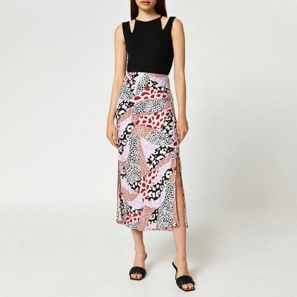 RIVER ISLAND Pink animal print side split maxi skirt ~ womens mixed print skirts - flipped