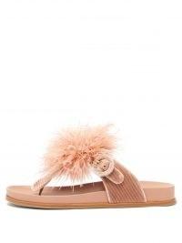 AQUAZZURA Pink Boudoir feather velvet and leather sandals