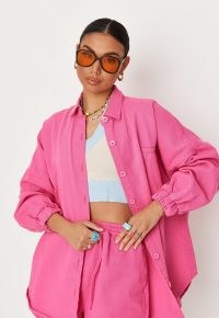 Missguided pink co ord oversized denim shirt | women's bright coloured shirts | womens casual fashion