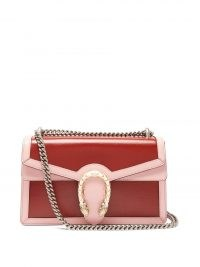 GUCCI Dionysus medium pink and red leather shoulder bag / chain strap flap bags