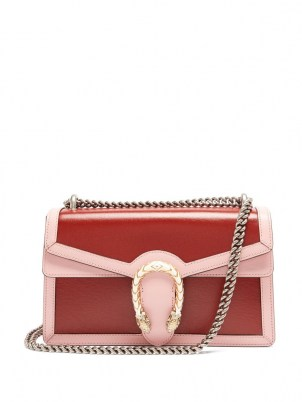 GUCCI Dionysus medium pink and red leather shoulder bag / chain strap flap bags - flipped
