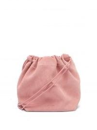 JIL SANDER Drawstring mini pink-suede cross-body bag ~ luxe crossbody bags