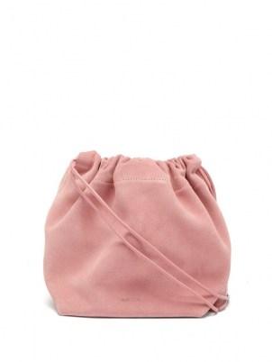 JIL SANDER Drawstring mini pink-suede cross-body bag ~ luxe crossbody bags - flipped