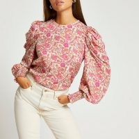 River Island Pink floral puff sleeve top   womens balloon sleeve tops