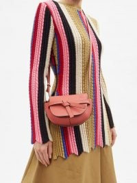 LOEWE Gate mini grained-leather cross-body bag in pink ~ small luxe crossbody bags