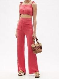 JOOSTRICOT Linen-blend knit cropped | womens pink knitted skinny strap crop hem tops | women's fashion knitwear