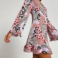 RIVER ISLAND Pink long sleeve animal print tea mini dress / women's retro flared sleeve printed dresses