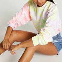 RIVER ISLAND Pink long sleeve tie dye sweatshirt / women's multicoloured crew neck sweatshirts