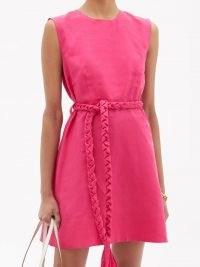 BELIZE Pandora buttoned linen mini dress / women's fuchsia-pink sleeveless summer dresses