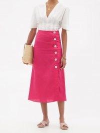 BELIZE Rosa buttoned linen midi skirt / bright pink linen skirts