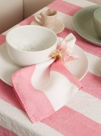 SUMMERILL & BISHOP Set of four striped linen napkins ~ fresh pink and white stripe table accessories