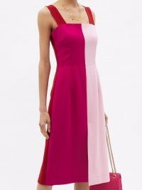 DOLCE & GABBANA Square-neck panelled wool-blend crepe dress / red and pink colour block fashion / sleeveless square neck dresses / tonal colours / womens designer fashion