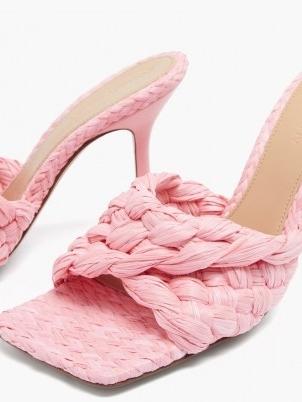 BOTTEGA VENETA Stretch Intrecciato raffia mules in pink / luxe woven square toe mule sandals / womens weave design footwear / luxury high heels - flipped