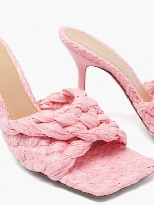 BOTTEGA VENETA Stretch Intrecciato raffia mules in pink / luxe woven square toe mule sandals / womens weave design footwear / luxury high heels