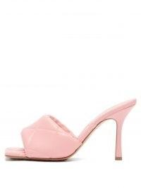 BOTTEGA VENETA The Lido Intrecciato-debossed pink leather mules – padded weave design high heel sandals