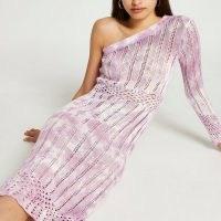 River Island Pink tie dye crochet ribbed midi dress | womens on trend knitted dresses | women's asymmetric knitwear