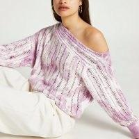 River Island Pink tie dye crochet top | women's asymmetric tops | womens knitwear | on trend knitted fashion