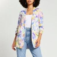 RIVER ISLAND Pink tie dye printed ruched sleeve blazer / multicoloured blazers
