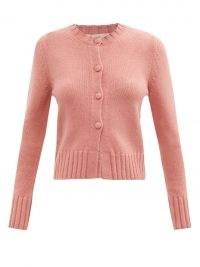 BROCK COLLECTION Tonia wool-blend cardigan ~ pink crew neck cardigans