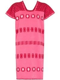 Pippa Holt single panel minidress ~ pink embroidered shift dresses