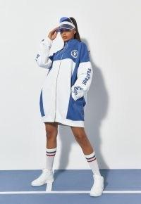 playboy x missguided blue colourblock zip through sports jacket ~ women's longline oversized slogan jackets ~ sporty logo print fashion