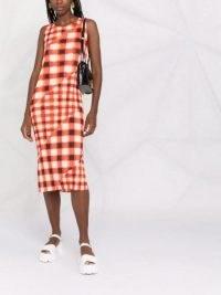 Pleats Please Issey Miyake checked panelled midi dress ~ orange sleeveless check print dresses