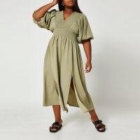 RIVER ISLAND Plus green puff sleeve maxi dress ~ womens plus size split hem dresses