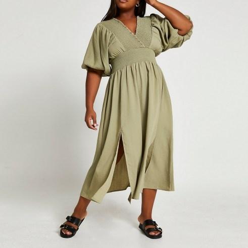 RIVER ISLAND Plus green puff sleeve maxi dress ~ womens plus size split hem dresses - flipped