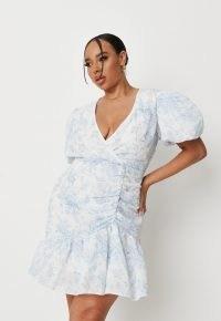 Missguided plus size blue porcelain print puff sleeve mini dress | womens romantic ruched dresses | women's on trend fashion