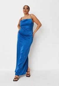 Missguided plus size blue satin cowl neck tie back maxi dress | long length spaghetti strap slip dresses