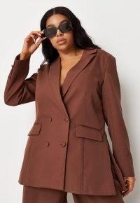MISSGUIDED plus size mocha longline tailored blazer ~ womens brown blazers ~ women's on trend jackets