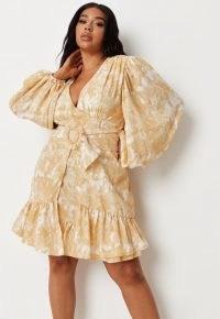 Missguided plus size yellow tie dye wrap balloon sleeve mini dress | womens frill hem dresses | women's volume sleeve summer fashion