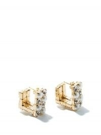 ROSANTICA Polka small squared crystal & faux-pearl earrings ~ glamorous neat studs