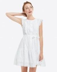 Draper James Popover Dress in Embroidered Stripe Magnolia White | cotton tie waist summer dresses with flounce hem