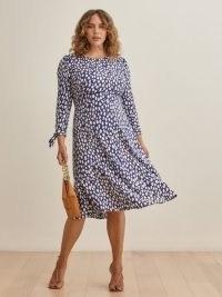 REFORMATION Port Dress / blue long sleeve spot print dresses