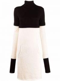 Ports 1961 layered roll-neck jumper dress Black/White ~ monochrome colour block high neck sweater dresses