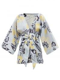 CALA DE LA CRUZ Carina floral-print linen wrap top / wide crop sleeve tie waist tops