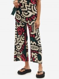 PLEATS PLEASE ISSEY MIYAKE Graphic-print technical-pleated wide-leg trousers – womens bold print crop leg jersey pants