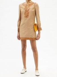 GUCCI Leather-trimmed GG-jacquard linen-blend dress   vintage style dresses   women's retro fashion