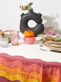 SUMMERILL & BISHOP Rainbow 380 x 165 striped linen tablecloth ~ white multicoloured edge tablecloths ~ dining table accessories