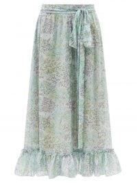 LUISA BECCARIA Ruffled floral-print cotton-voile skirt / light blue ruffle hem skirts