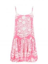 JULIET DUNN Pink scalloped floral-print cotton-voile mini dress   womens skinny strap summer dresses