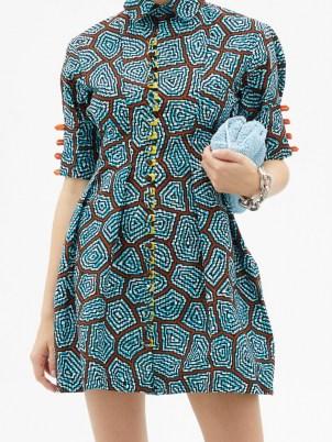 LISA FOLAWIYO Sere Ankara-print cotton mini dress ~ fit and flare shirt dresses - flipped
