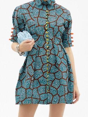 LISA FOLAWIYO Sere Ankara-print cotton mini dress ~ fit and flare shirt dresses