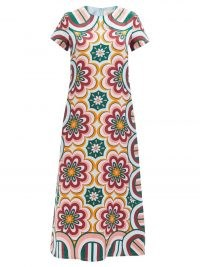 LA DOUBLEJ Swing Ciccio-print silk maxi dress / womens floral dresses / vintage inspired kaleidoscopic prints