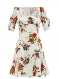 BROCK COLLECTION Temple square-neck floral-print cotton mini dress / fit and flare puff sleeve dresses